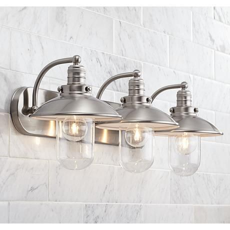 "Downtown Edison 28 12"" Wide Brushed Nickel Bath Light  Style Magnificent Industrial Bathroom Light Fixtures Design Decoration"