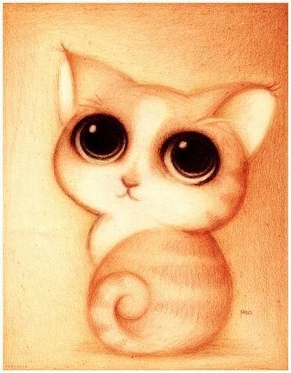 Gato Ojosgrandes  Dibujo  Pinterest  Ojos grandes Ojos y Dibujo