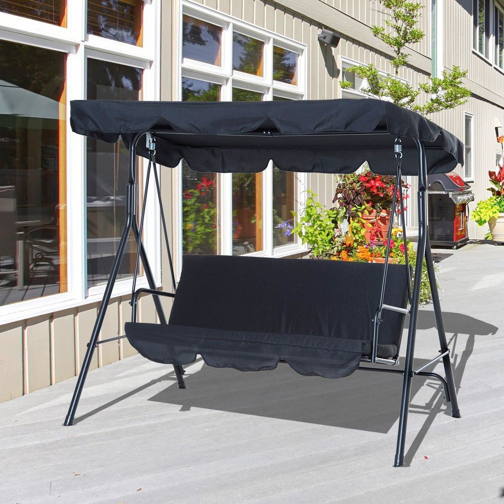 3 Seater Patio Swing Chair Steel Frame Black Colour