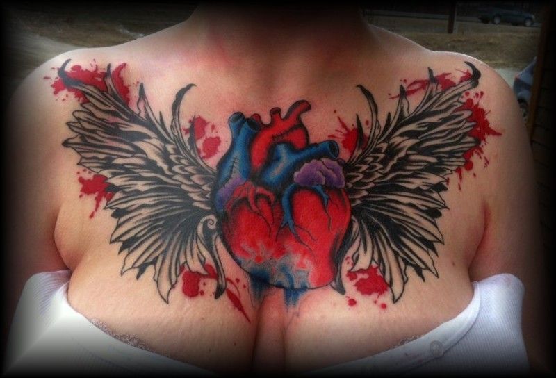 Heart And Wings Chest Piece Tattoo By Patheticpeacepirate Deviantart