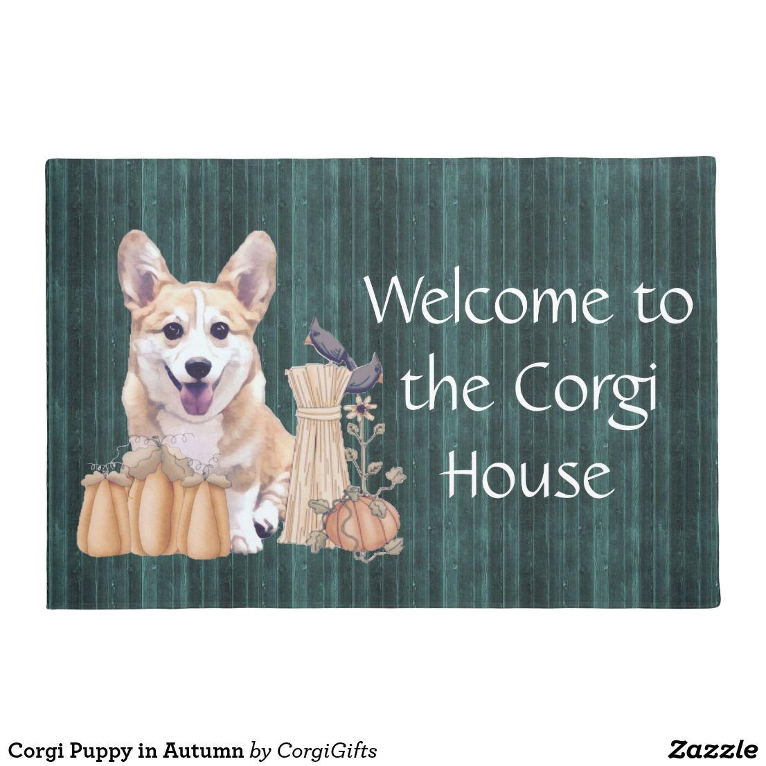 Corgi puppy in autumn doormat pembroke welsh corgi gifts pinterest corgi puppy in autumn doormat kristyandbryce Images