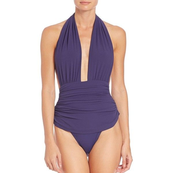 Norma Kamali One-Piece Plunging Halter Swimsuit (252.675 CLP) ❤ liked on Polyvore featuring swimwear, one-piece swimsuits, apparel & accessories, black, swim suits, one piece swim suit, halter top one piece bathing suits, one piece bathing suits and halter one piece swimsuit