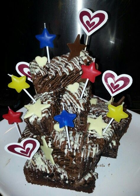 Birthday Brownie Stack With Images 90th Birthday Cakes