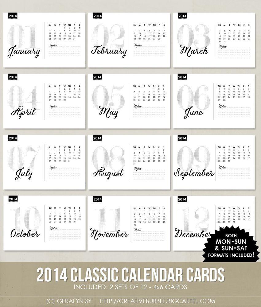 *NEW* 4x6 2014 Classic Calendar Cards (Digital)