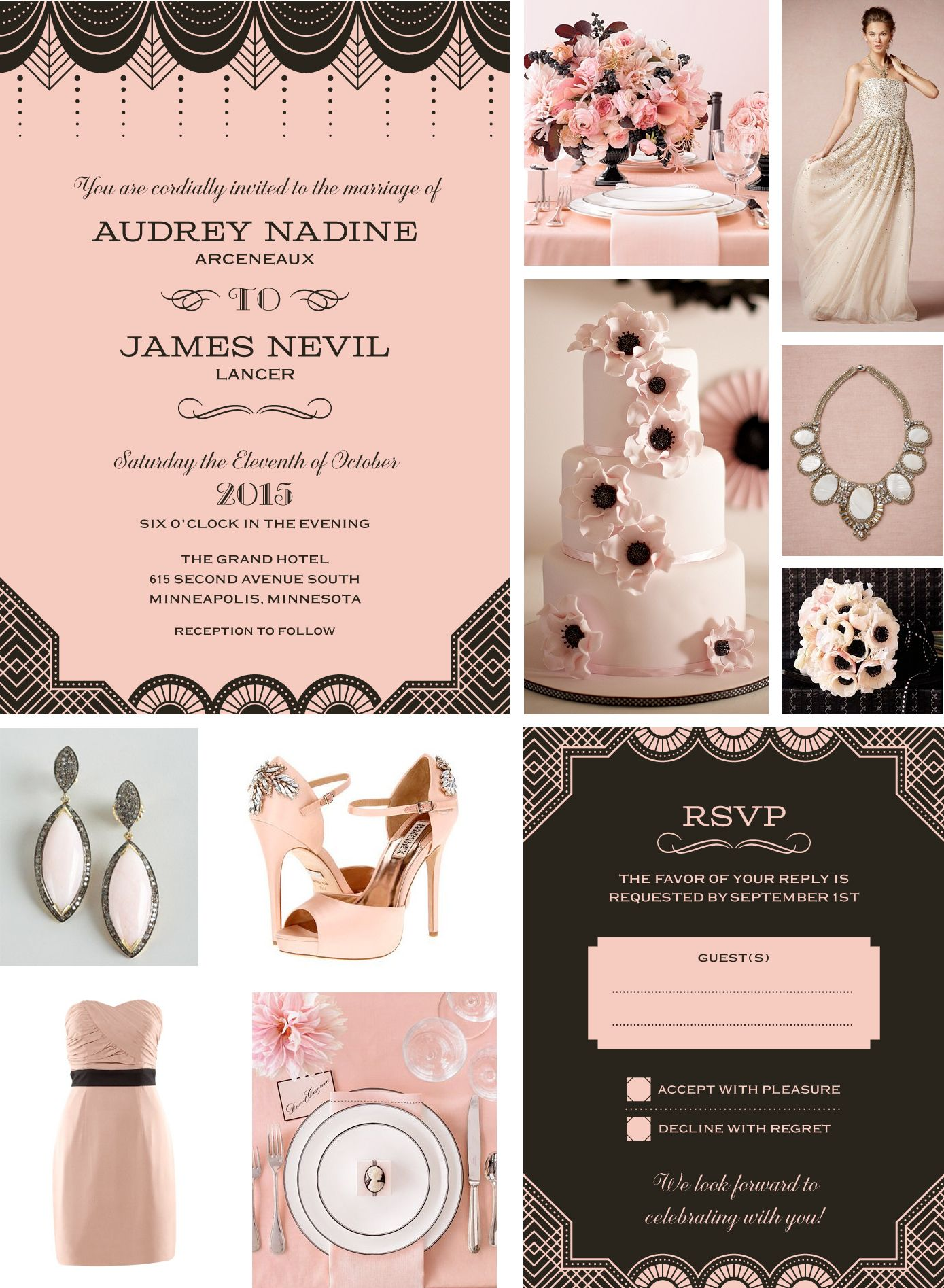 gatsby wedding invitations ivory black and light pink wedding decoration ideas Photo credits clock wise