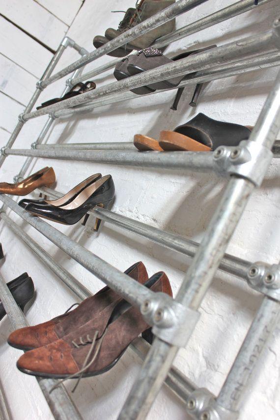 Lauren Extra Large Galvanised Steel Pipe Shoe Rack Fixture Bespoke Urban Furniture And Ings