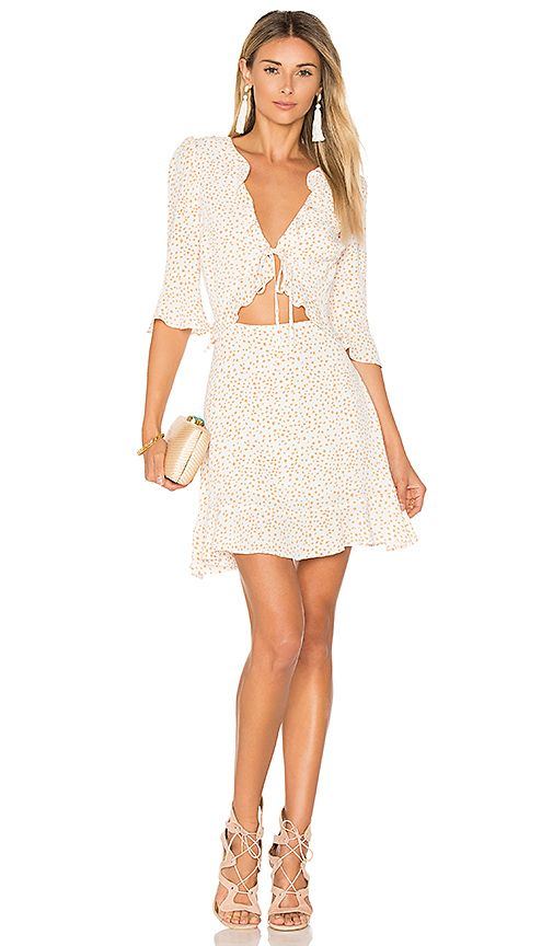 0750d9bafc71f Shop for For Love & Lemons Nostalgic Tie Front Dress in White Star ...