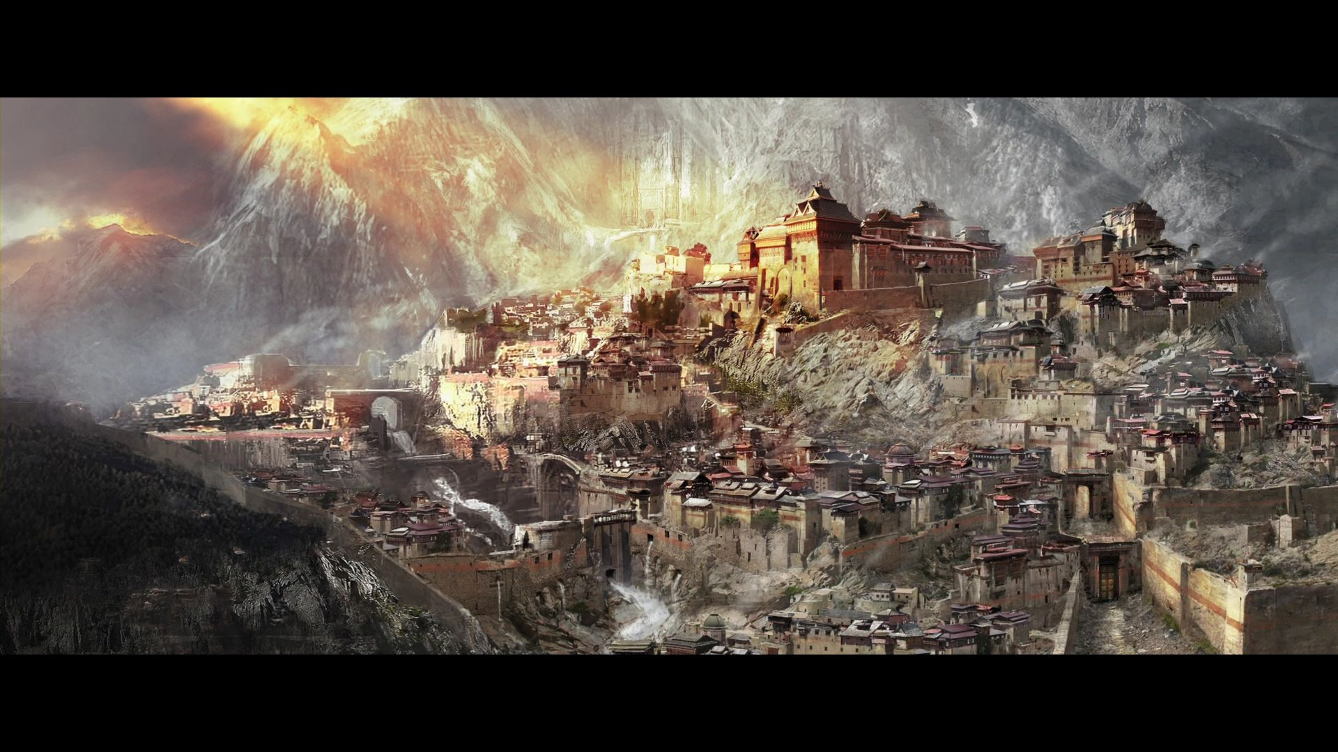 City Of Dale Concept Art Lotr Dale The Hobbit Fantasy Landscape