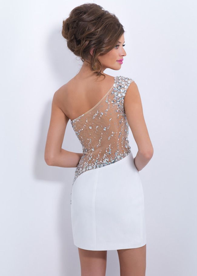 C153 One Shoulder White Jeweled Sheer Tight Homecoming Dress ...
