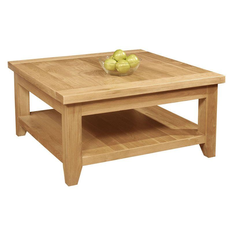 Provence Solid Oak Square Coffee Table With Shelf Console