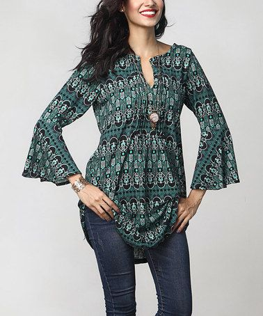Another great find on #zulily! Green Abstract Notch Neck Bell-Sleeve Tunic #zulilyfinds