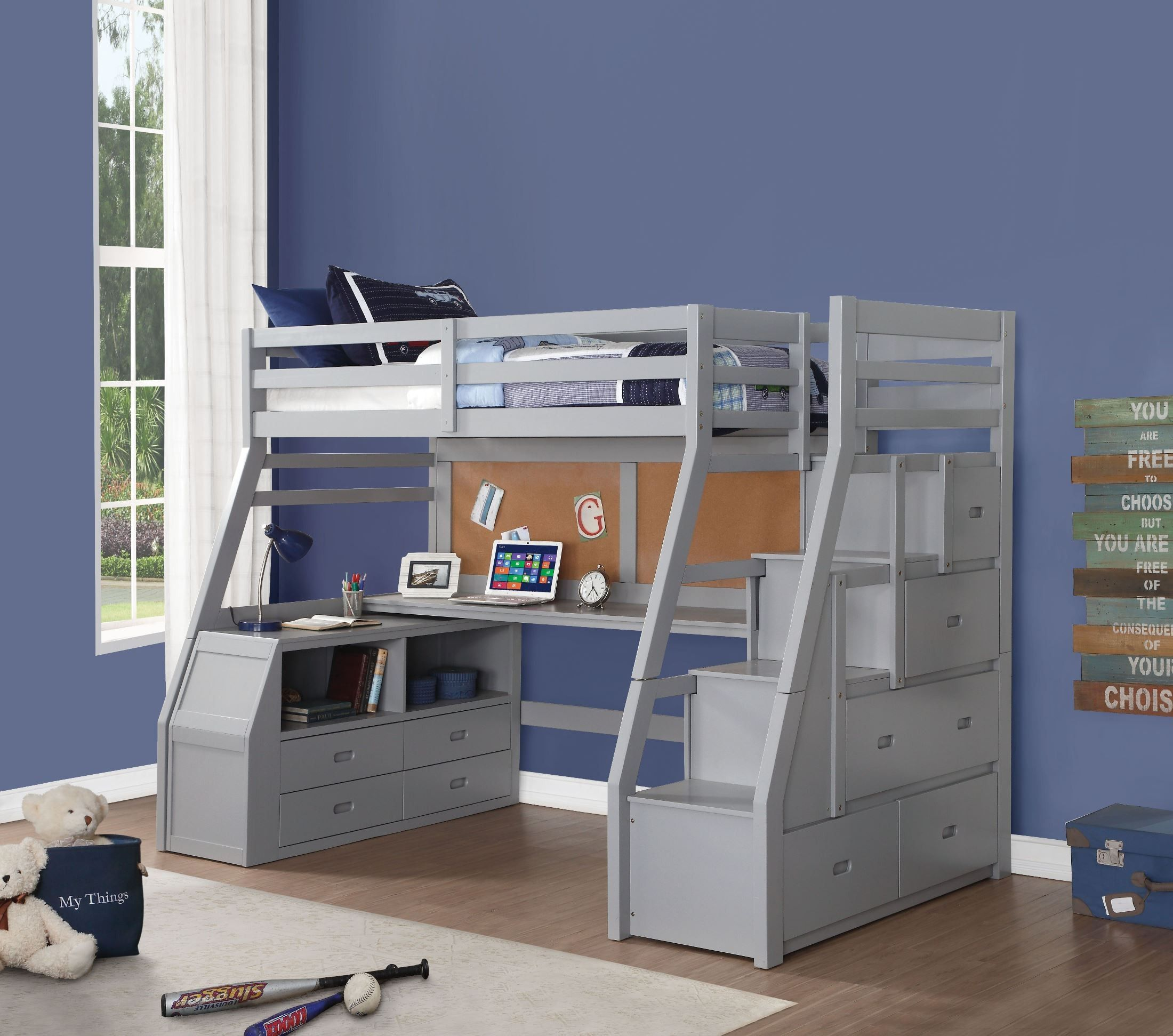 Jason Gray Ii Loft Bed With Storage Ladder Twin Size Loft Bed Twin Loft Bed Loft Bed Desk