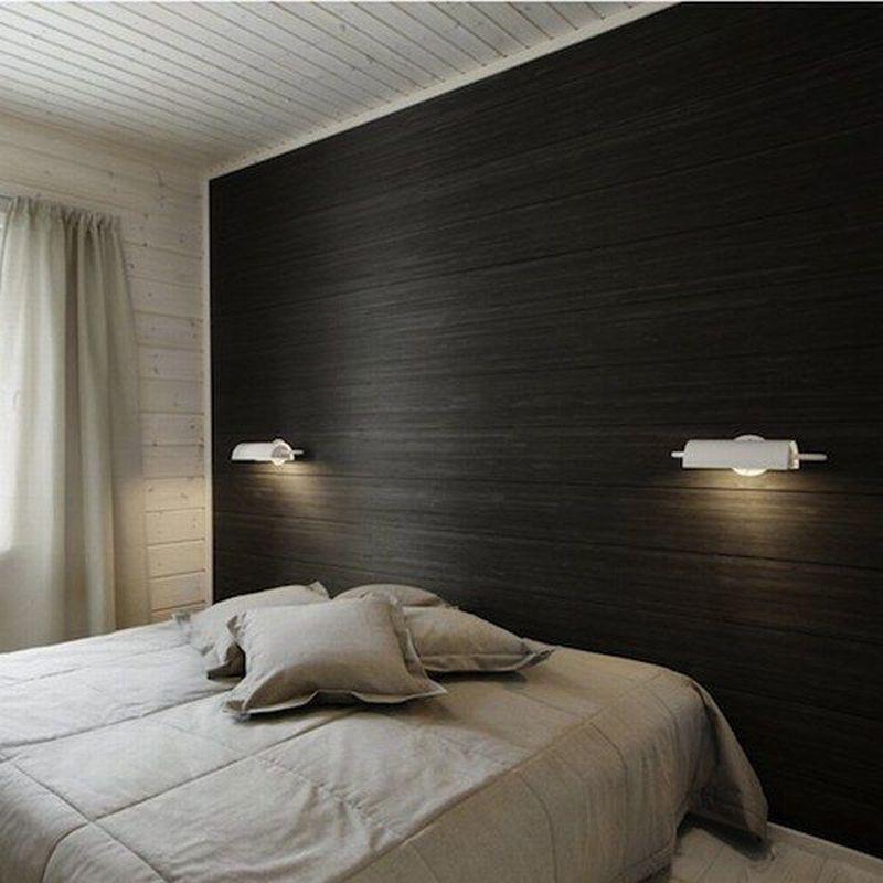 11 Wood Paneled Walls As Headboards Remodelista Patterned Wallpaper Bedroom Bedroom Wallpaper One Wall Modern Bedroom