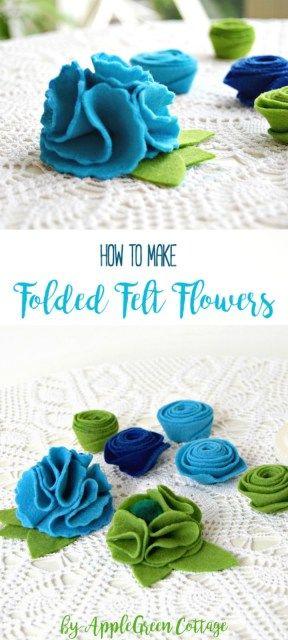 How To Make Folded Felt Flowers - AppleGreen Cottage