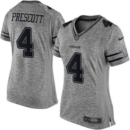 Nike Cowboys  4 Dak Prescott Gray Women s Stitched NFL Limited Gridiron Gray  Jersey 31574d857