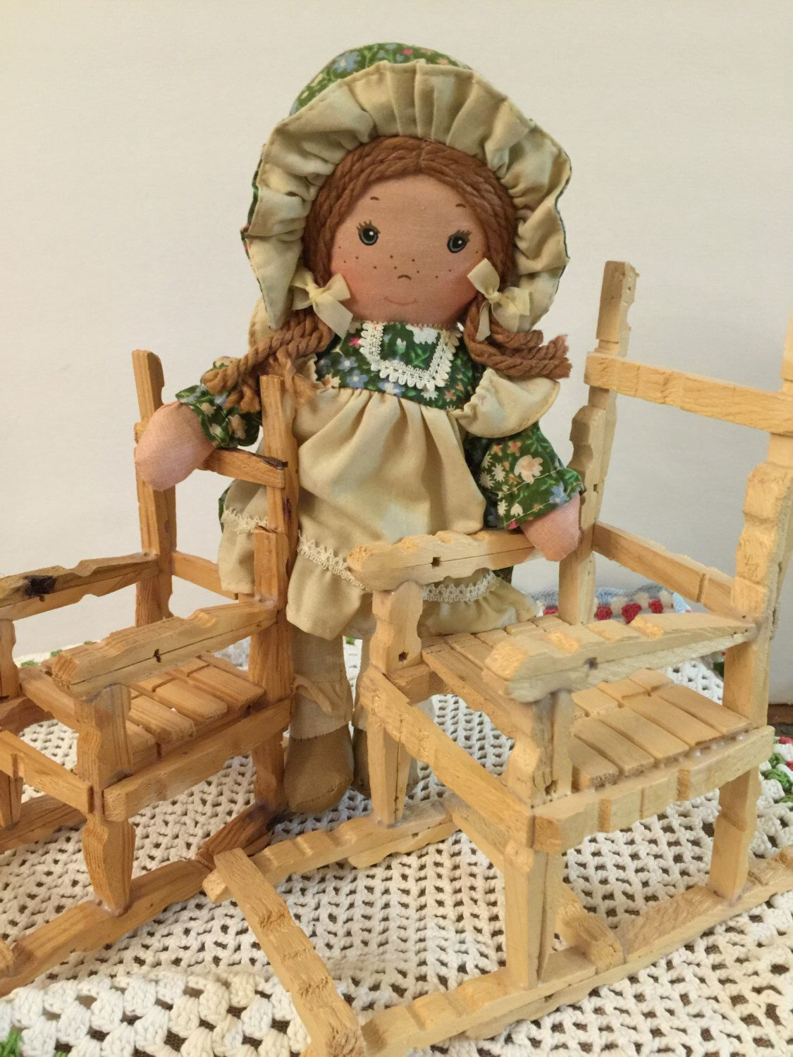 A personal favorite from my Etsy shop https://www.etsy.com/listing/252373763/clothespin-chairs-set-of-2-tramp-art