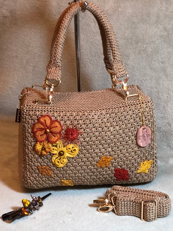 Autumn Purse, Fall, Satchel Handbag. One of a Kind, Numbered, Gift for Her. Lined Bronze Taffeta Interior 7″ Pocket, Flower Design. Quality