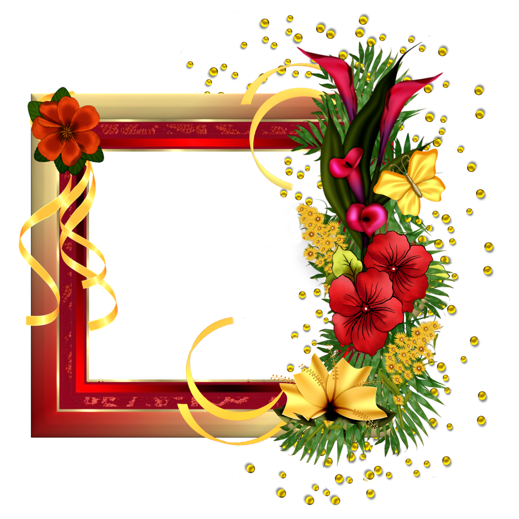 Red Gold Frame With Field Flowers Christmas Printables Frame