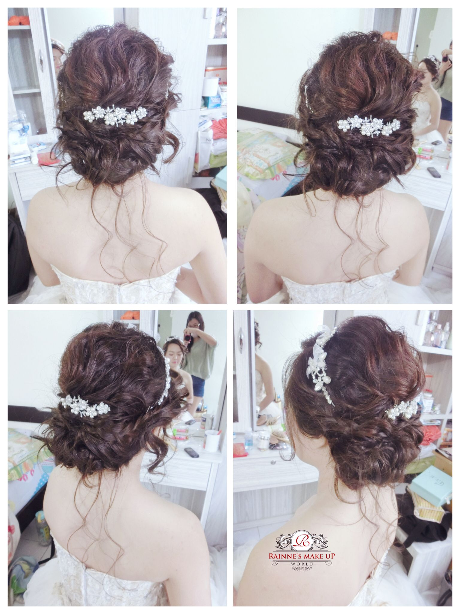 2016bridal hairdo, Korean messy hairstyles, lowbun, wedding, makeup ...