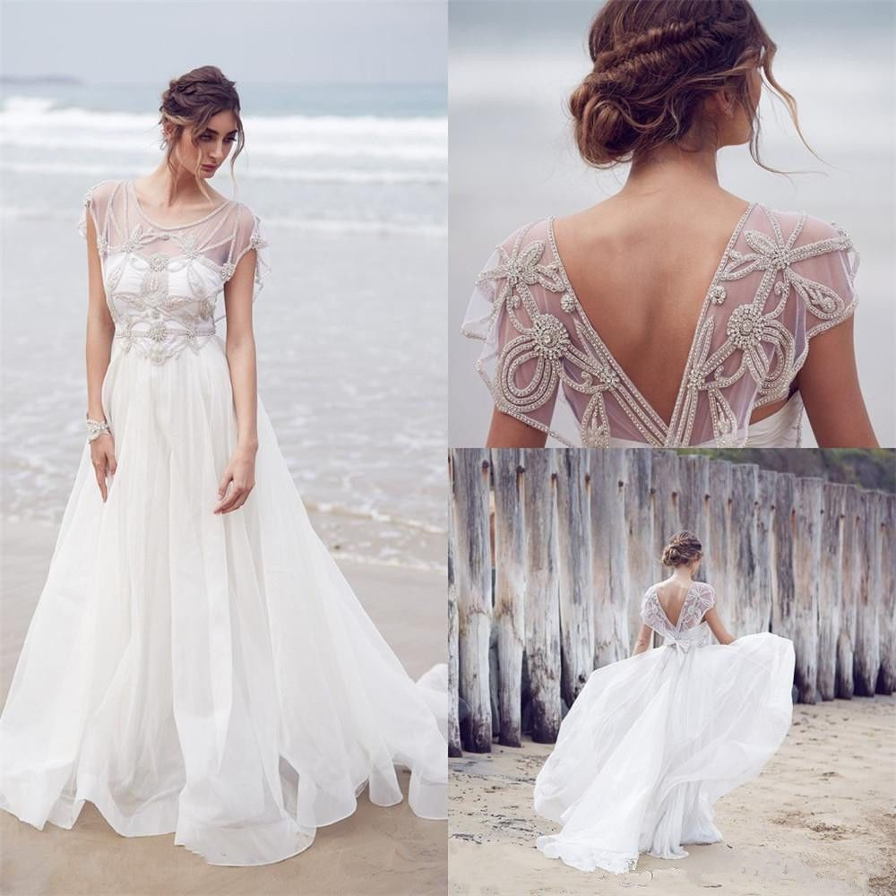 Bohemian White/Ivory Beach Backless Chiffon Wedding Dress Gowns Custom all size