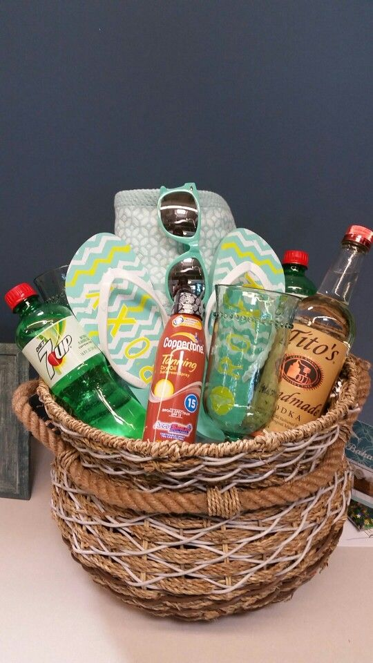 Relaxing Summer Beach Themed Gift Basket Birthday Baskets