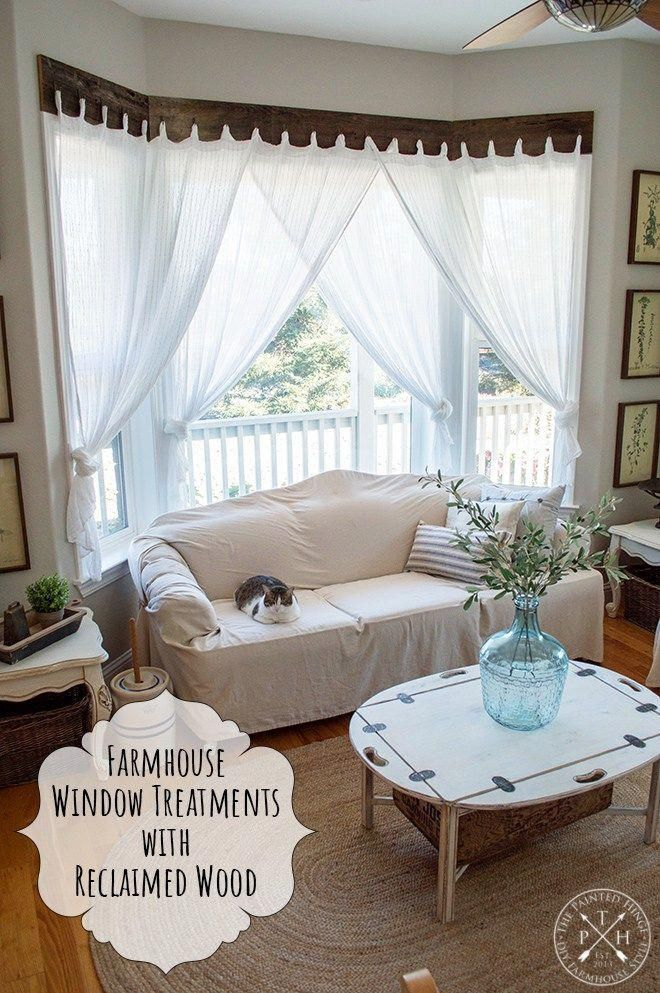 Farmhouse Window Treatments With Reclaimed Wood Rusticfarmhouse Curtains Living Room Farm House Living Room Farmhouse Kitchen Curtains