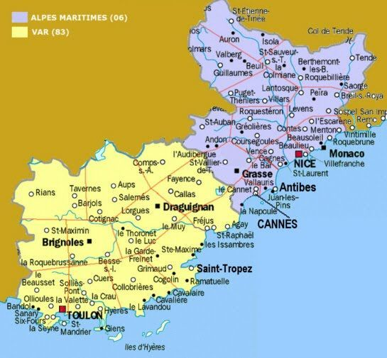 Map Of France Coast.Map Of The French Riviera Travel 2013 Pinterest Utazas In 2019