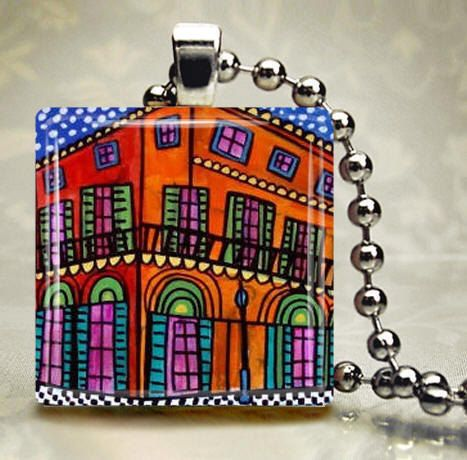 60% Off- New Orleans Jewelry - Bourbon street Art Jewelry Necklace Pendant Print Handmade Charm