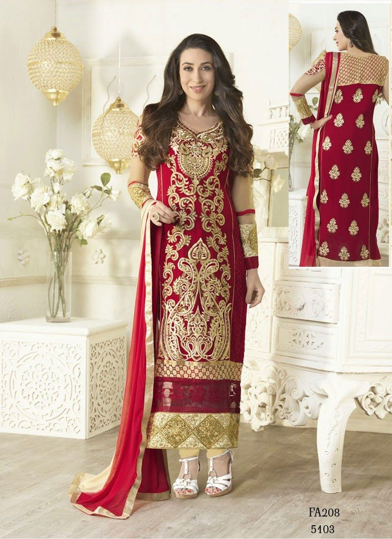 fac16f6bd6 Karishma Kapoor Red and Cream Embroidery Salwar Kameez -Clothing-FABFIRKI