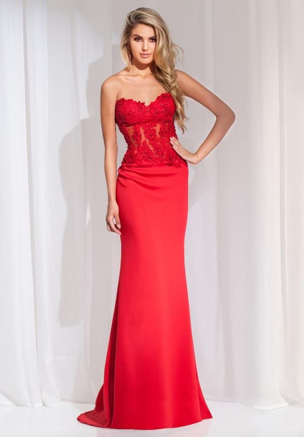 Faddish Sweetheart Full Length Applique Lace Corset Red New Year ...