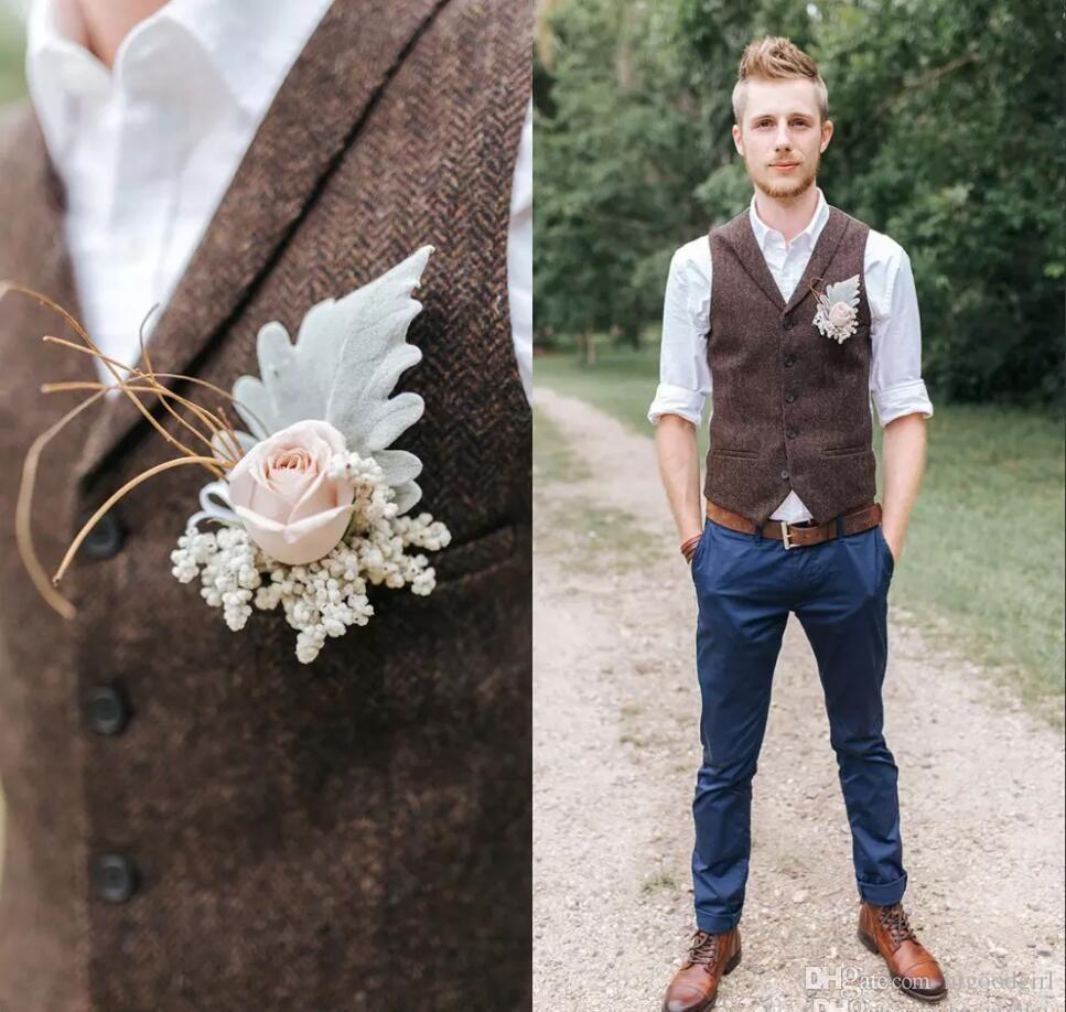2019groom Vests Brown Tweed Wool Herringbone Groom Vests British