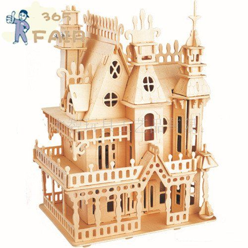3d puzzle stereo wooden font b fantasy b font villa font b On wooden craft kits for adults