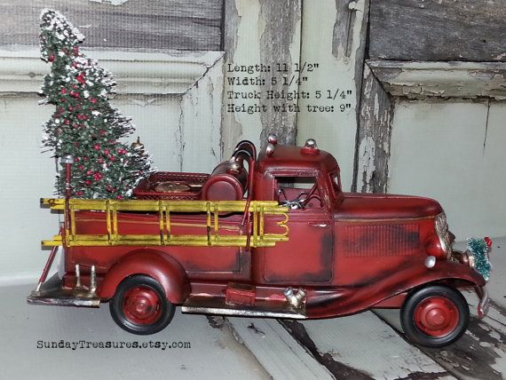 Large Metal Old Fashioned Red Fire Truck Christmas Decor