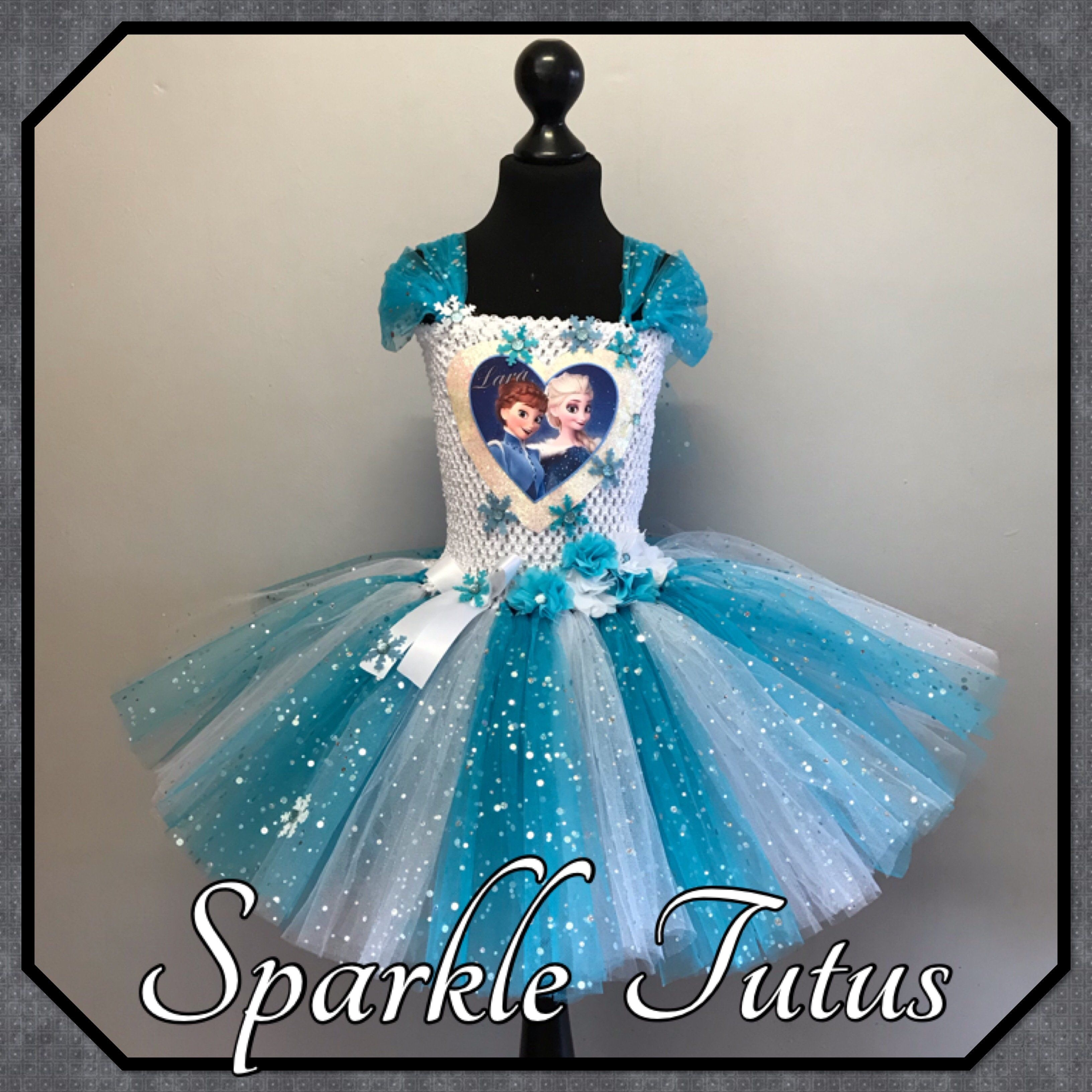 Personalised Frozen themed Party princess tutu dress - 7-8