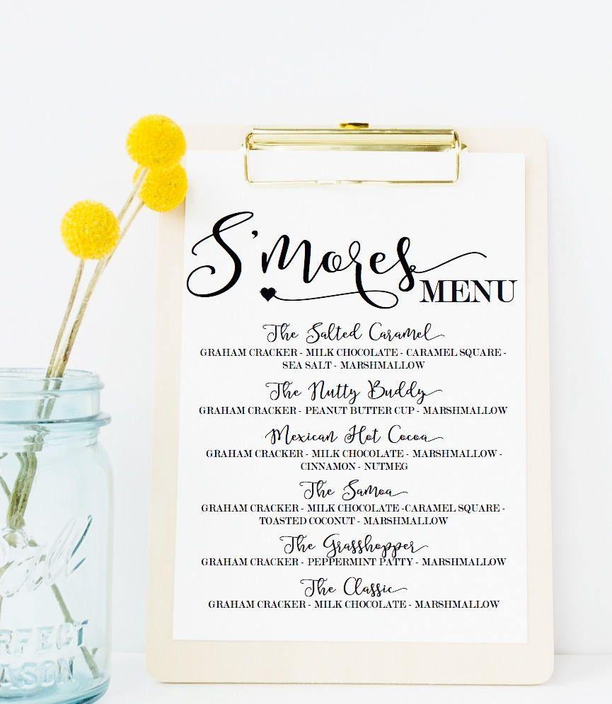 Smores Menu Sign - Smores Menu - Smores Wedding - Smores Favor Sign ...