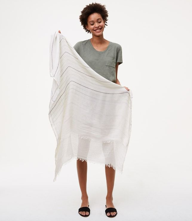 $34.50 Done in the airiest gauze this striped scarf is the secret to cool layering on warm days