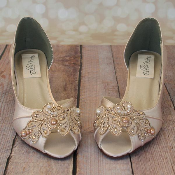 Dark Ivory Kitten Heel Peep Toe DOrsay Custom Wedding Shoes With Handmade Lace Applique Gold Crystals
