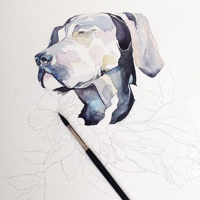 Процесс #Misha_illustration#illustration#inspiration#dog#draw#drawing#sketch#artwork#artist#art#watercolor#watercolour#aquarelle#акварель#собака#живопись#flowers#paint#painting#progress