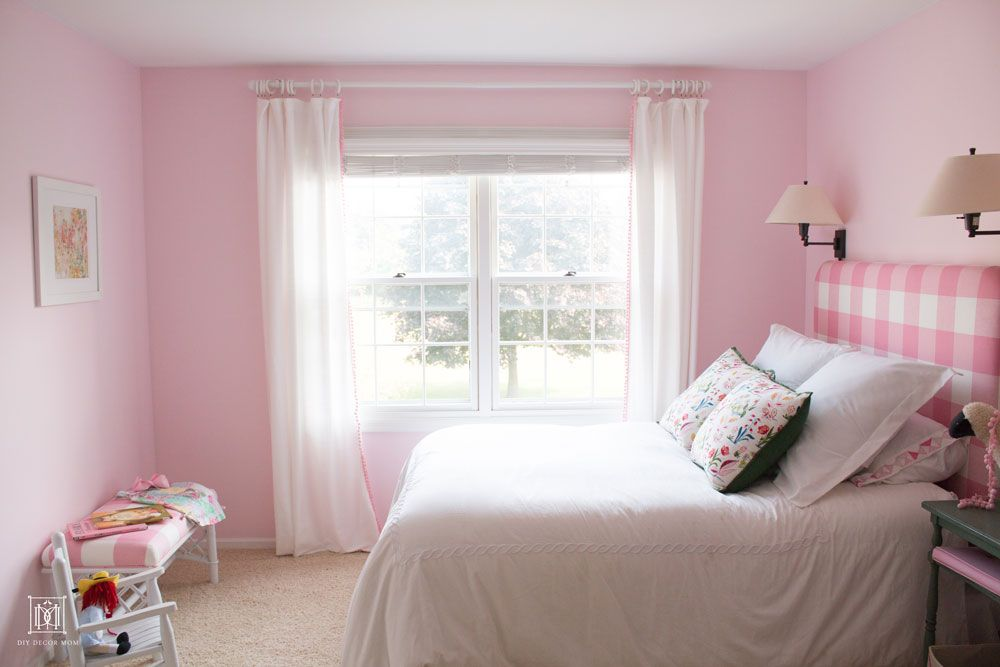 Love This Little Girls Shared Bedroom Such A Pretty Light Pink Wall Color Benjamin Moore Romantic P Shared Girls Room Pink Bedroom For Girls Pink Paint Colors