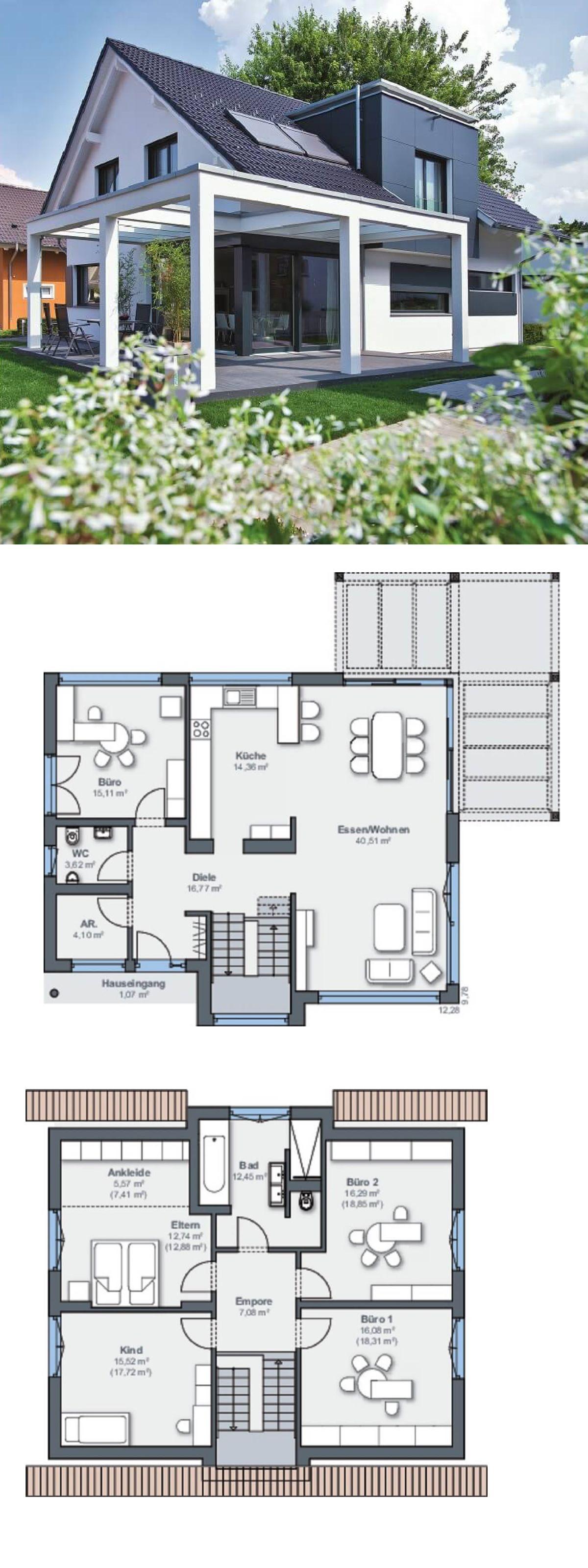 Einfamilienhaus neubau design modern mit satteldach for Hausbau modern satteldach