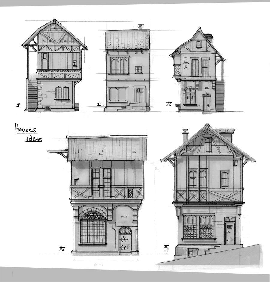 Medieval houses sketches by on for Medieval home plans
