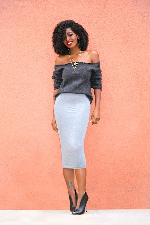 7e901599c6 DIY Off Shoulder Sweater + Jersey Pencil Midi Skirt (Style Pantry ...