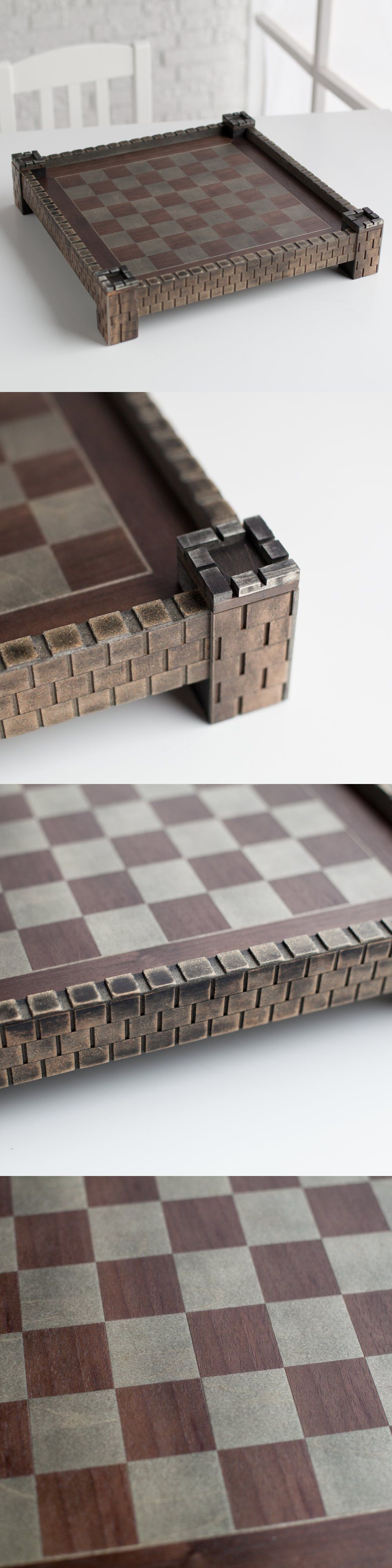 """17.5/"""" Wood Medieval Chess Board Vintage Wooden Table Stone Castle Corners Play"""