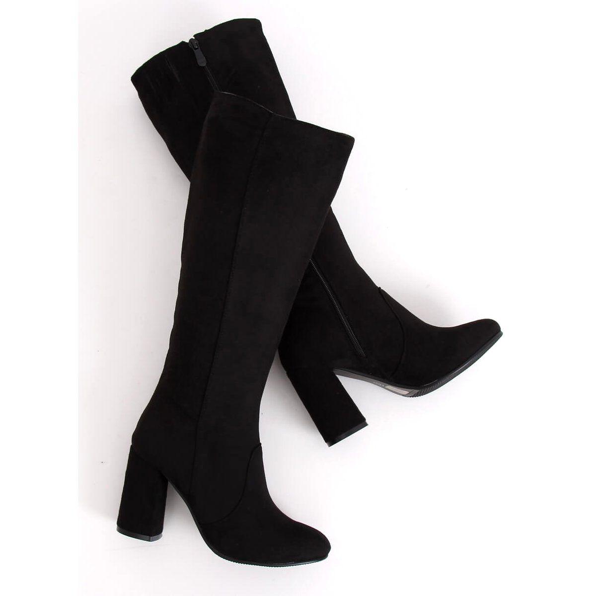 Kozaki Na Obcasie Czarne Pe252p Black Over Knee Boot Boots Shoes