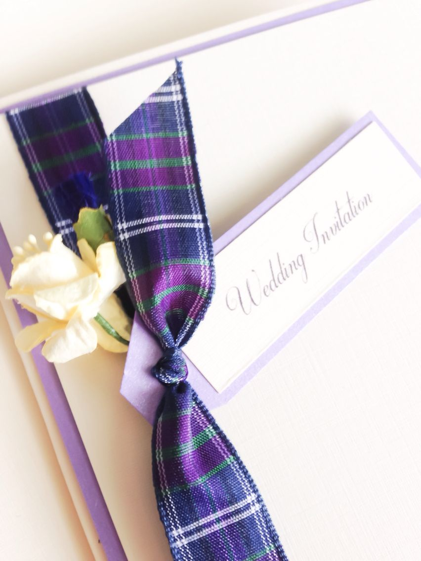 Wedding Invitation tartan thistle and daffodil Scottish and Welsh ...