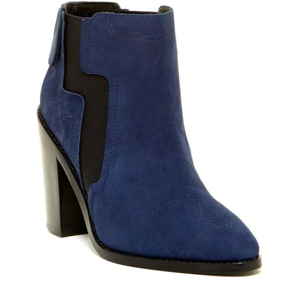 L.A.M.B. Mojo Bootie ($169) ❤ liked on Polyvore featuring shoes, boots, ankle booties, ankle boots, blue croco, blue boots, high heel booties, chunky booties, chunky-heel ankle boots and crocodile boots