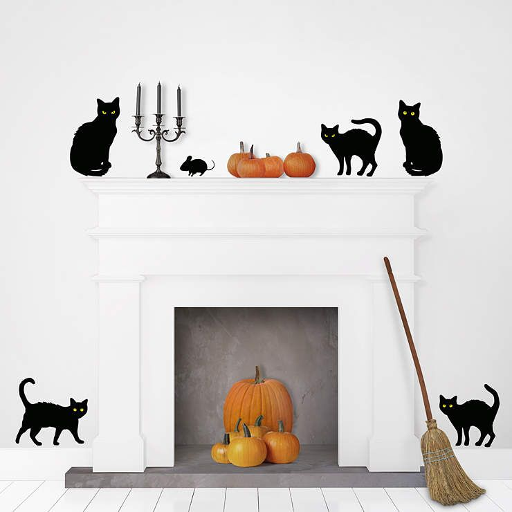 These Black Cats Will Have Your Guests Spooked Turn Off The Lights And See Their Eyes Glow In The Dark Cat Decal Black Cat Halloween Halloween Inspiration