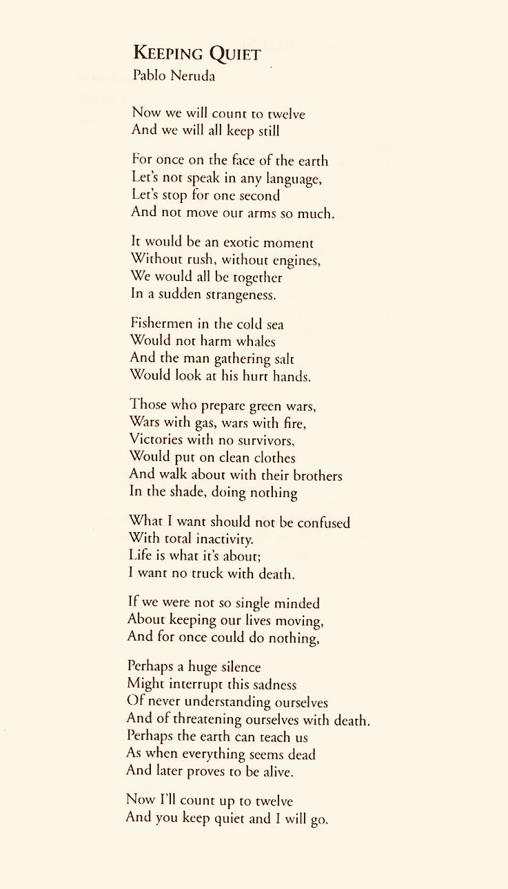 explanation of the poem keeping quiet by pablo neruda