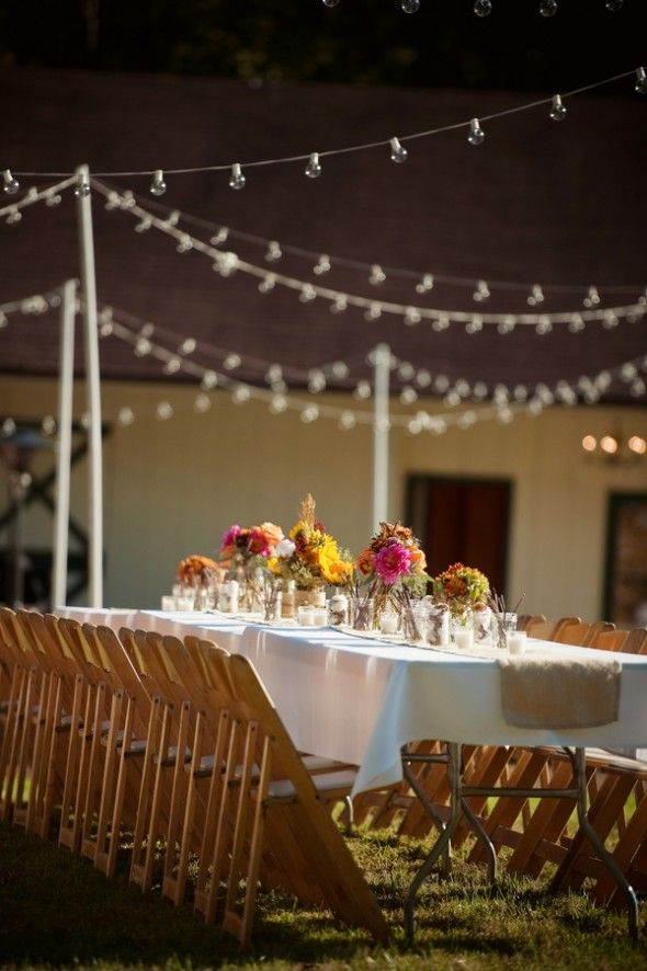 Outdoor Farm Wedding Want To Use The Lights Over Our Picnic Tables Reminds Me