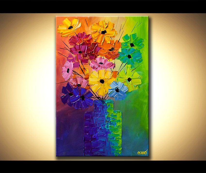 Original abstract acrylic painting colorful flowers modern for Abstract art flowers paintings